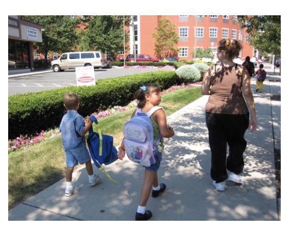 Figure 1 – Children walking to school (Source: Voorhees Transportation Center)