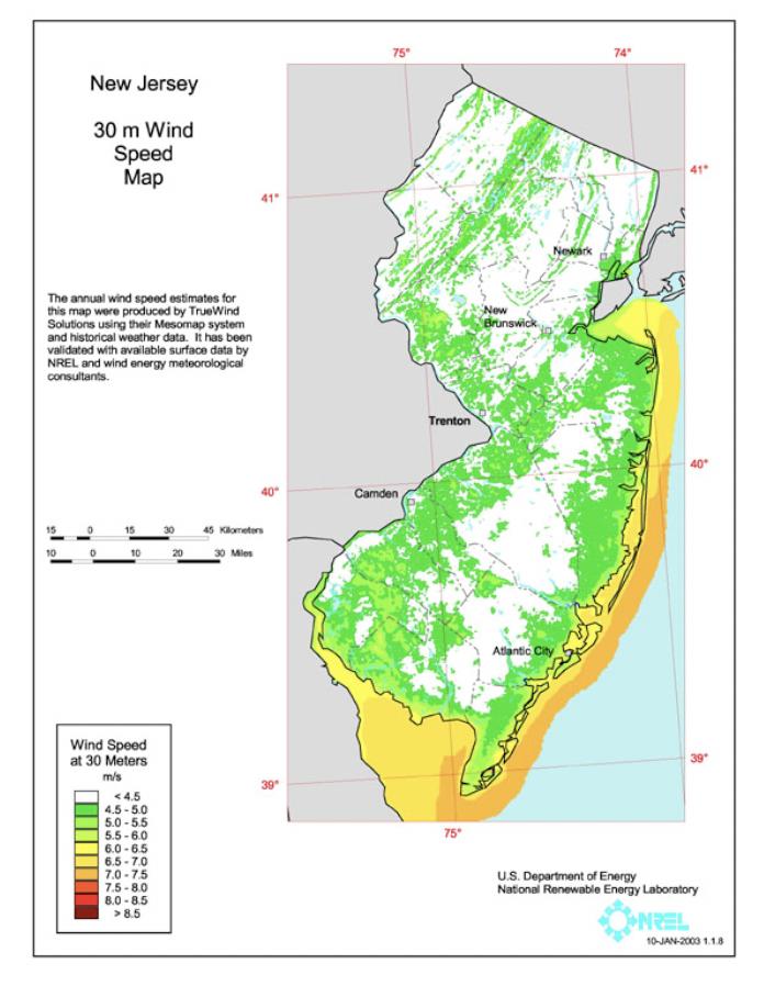 Figure 3 - Wind Speed Map at 30 meters (Source: US DOE   NREL - Wind Powering America).