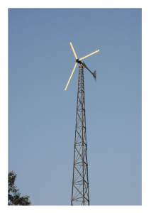 Figure 4 – A 10 kW wind turbine atop a lattice tower at Hamilton College, NY. (Source: Fortis Wind Energy).