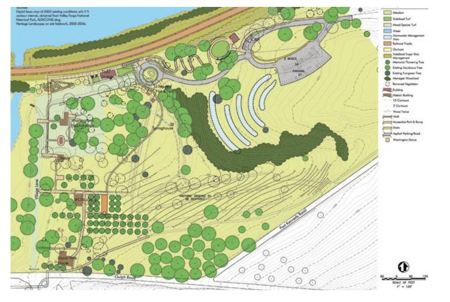 Figure 2 - Washington's Headquarters at Valley Forge, landscape treatment plan. (Source: Heritage Landscapes LLC)