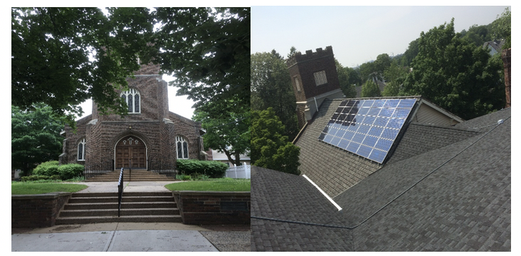 Figure 2 - Street Entrance from S. 2nd Ave (left). Rack mounted solar panels (42 X 102W) atop one of the 3 buildings at the Reformed Church (right).