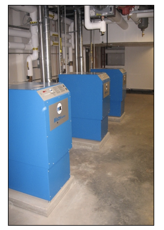 Figure 2 – Heating system composed of several gas-fired boilers controlled by variable frequency drives that optimize boiler operation (Source: Rutgers University)
