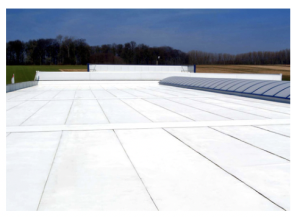 Figure 1 – Cool roof with a highly reflective acrylic top coat that helps reduce carbon emissions and lowers internal building temperatures (Source: Design Build Network)