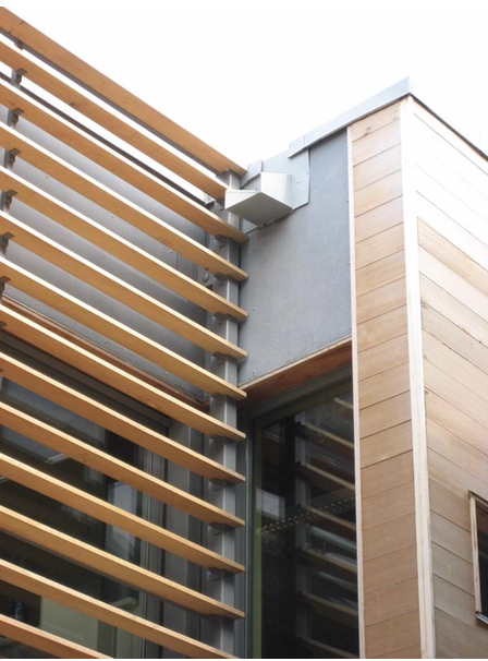 Figure 4 - The siding (right side of image) of the Queens Botanical Garden's Visitor Center is FSC certified Western Red Cedar (Source: Queens Botanical Garden/Nicole De Feo)