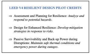 (Figure 1 - LEED V4 Resilient Design Pilot Credits. Source: USGBC)